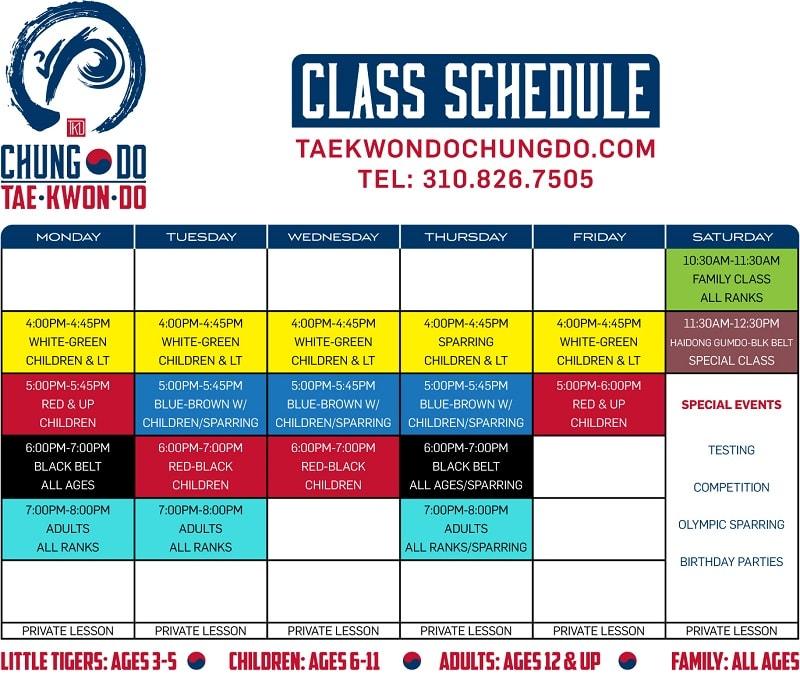 Chung Do Class Schedule